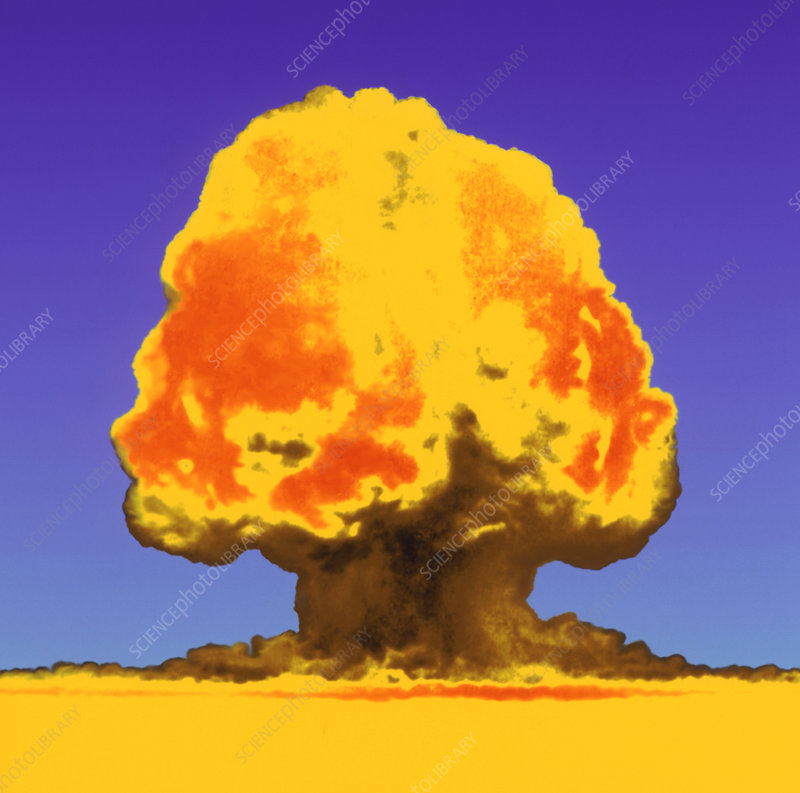 Coloured image of the first atomic bomb explosion