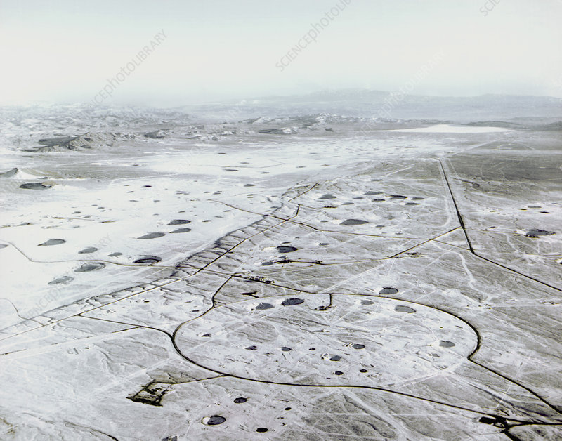 Aerial view of the Nevada atomic bomb test site