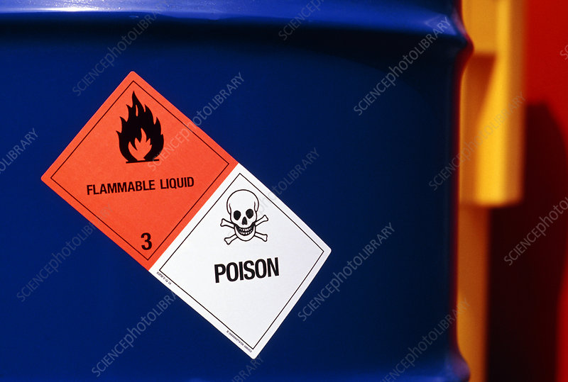 Poison & flammable warning signs on chemical drum