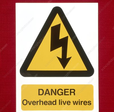 Sign warning of overhead electricity wires
