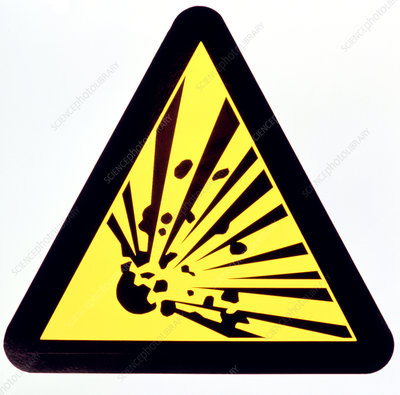 Sign warning of a risk of explosion
