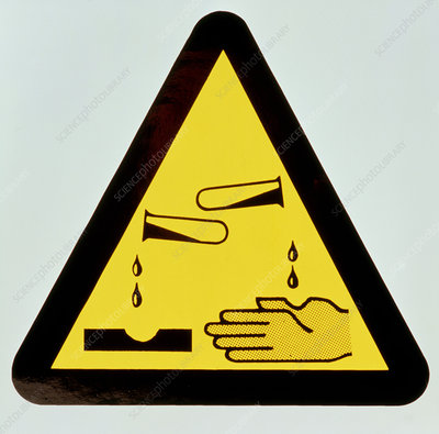 Chemical warning sign: corrosive agent