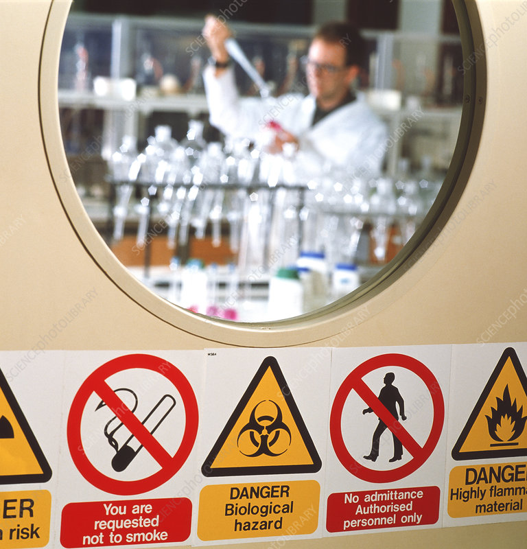 Safety signs seen on a laboratory door