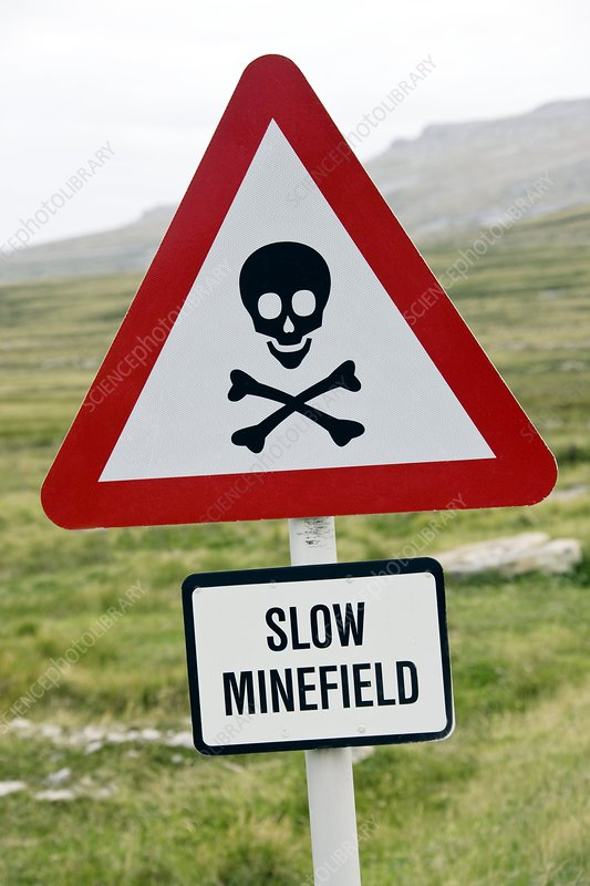 Minefield road sign