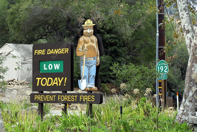 Fire hazard sign, California