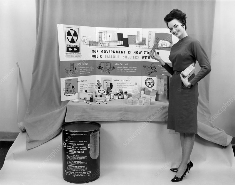 Fallout shelter supplies, USA, Cold War