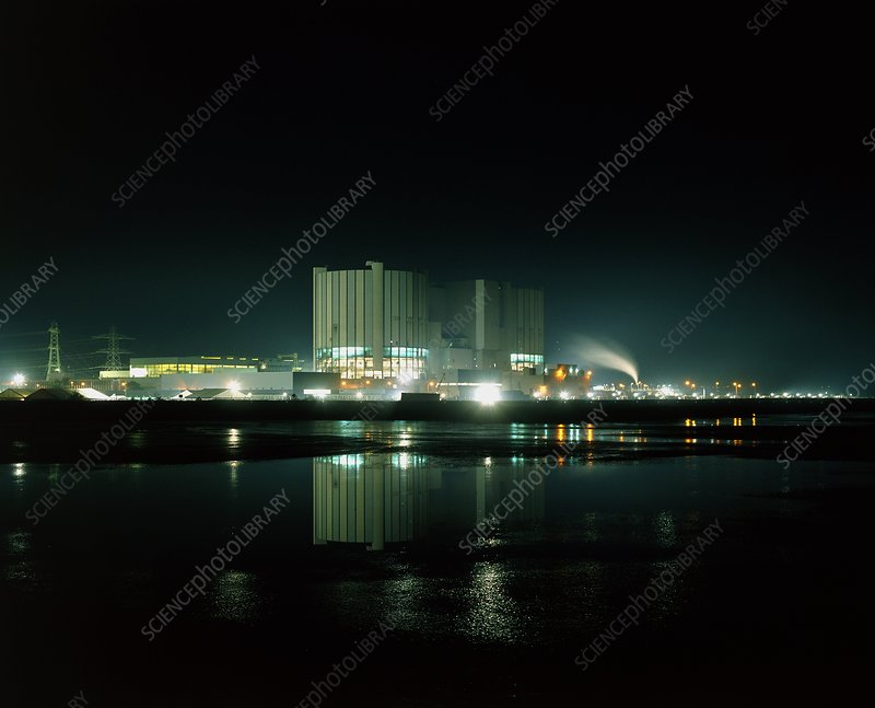 Night view of Oldury nuclear power station