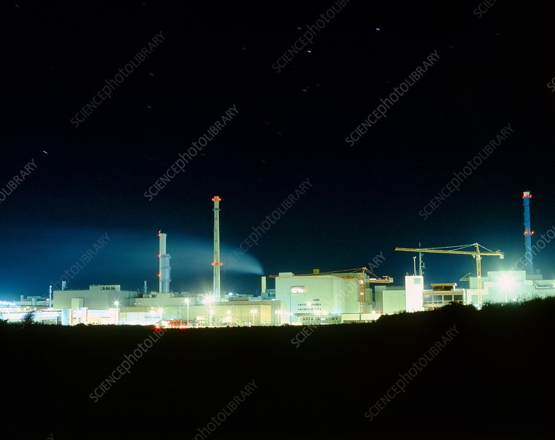 La Hague reprocessing facility at night