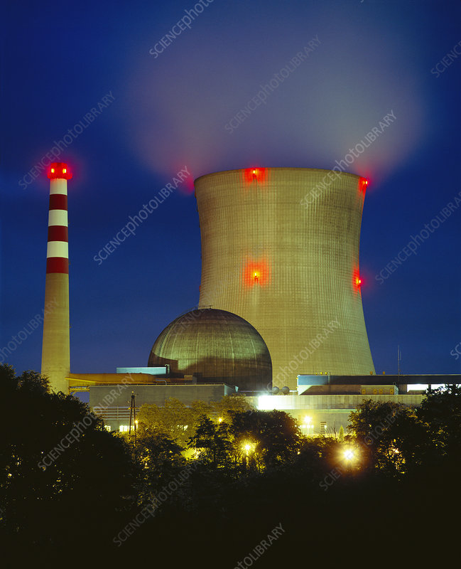 Nuclear power station at night