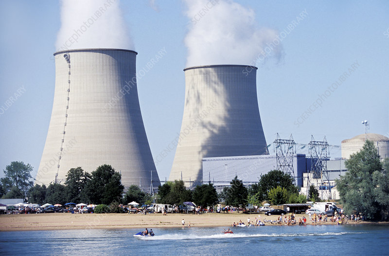Nuclear power station, cooling towers