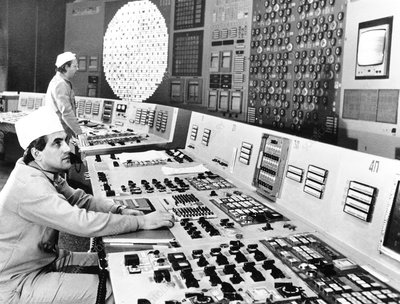 Technicians in the control room at Chernobyl