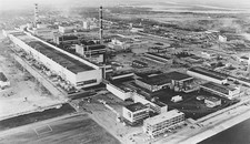 Aerial photo of Chernobyl nuclear power plant