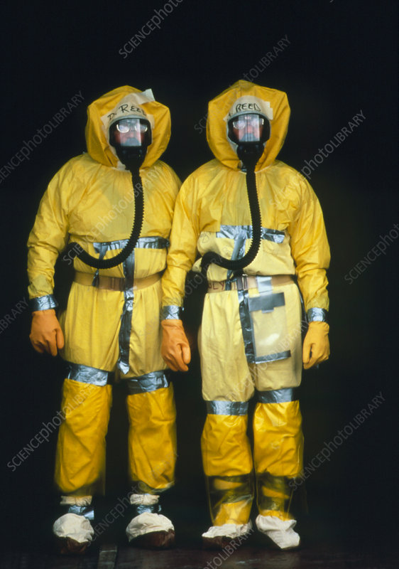 Two workers wearing protective clothing