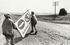 Soldiers erecting exclusion zone sign at Chernobyl