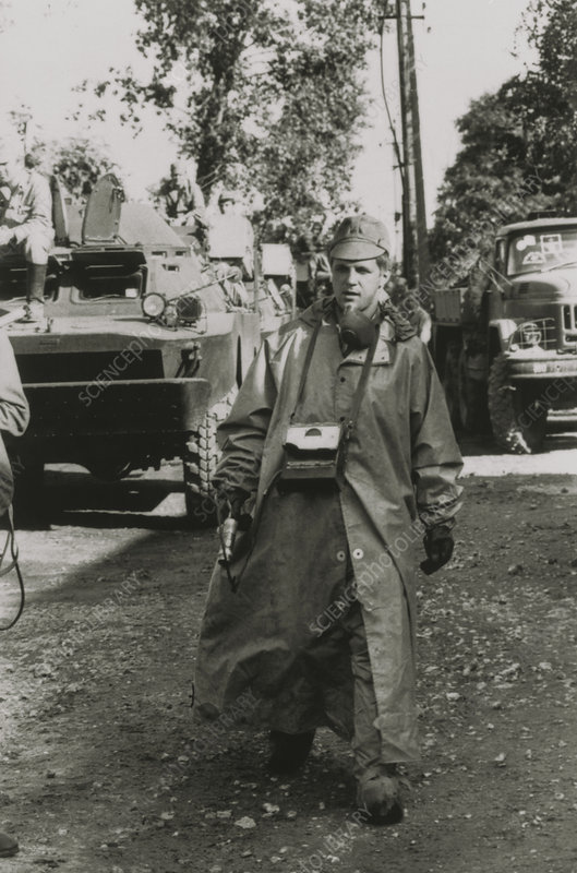 Soldier helping in the clean-up after Chernobyl