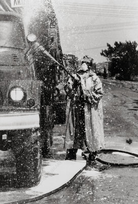 Army truck being decontaminated at Chernobyl, 1986