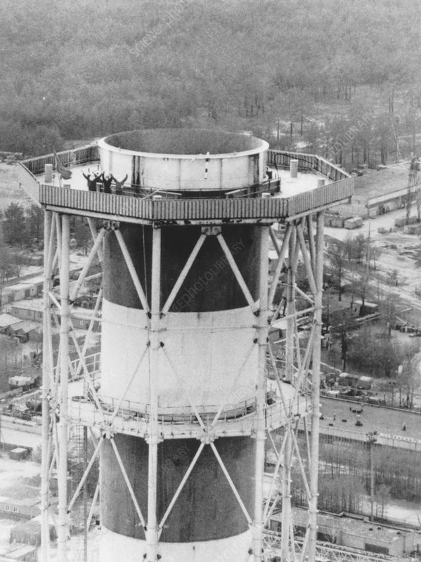 engineers study damage from chimney at chernobyl