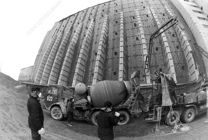 Fisheye lens view of Chernobyl's sarcophagus  - Stock Image