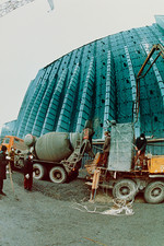 Construction of Chernobyl's sarcophagus.