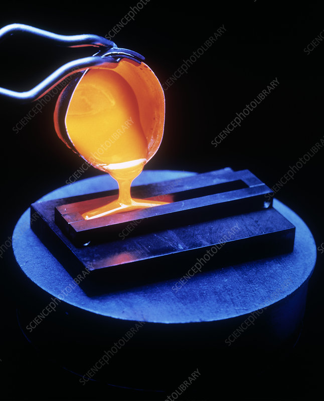 Molten nuclear waste glass poured into mould