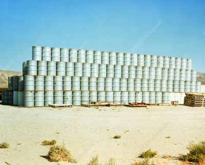 Drums of nuclear waste being stored above ground