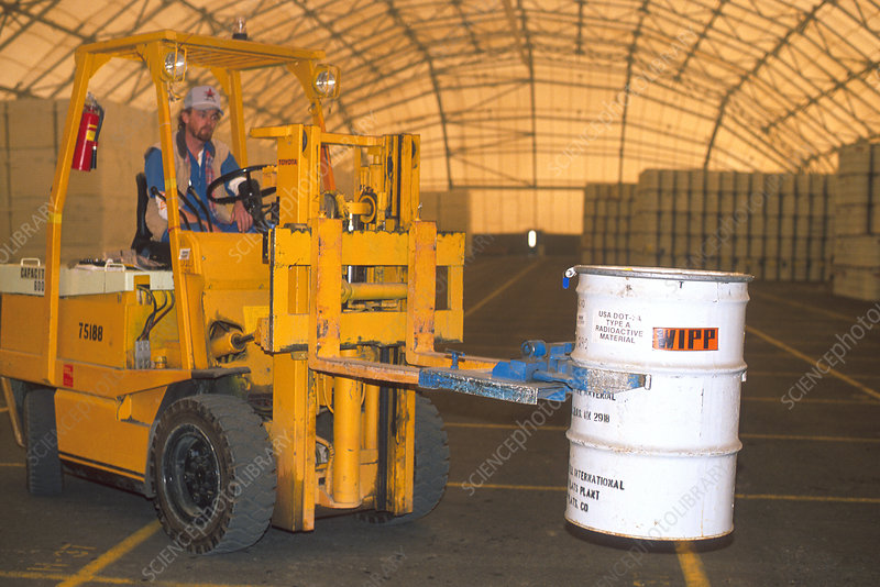 Operator moving radioactive nuclear waste