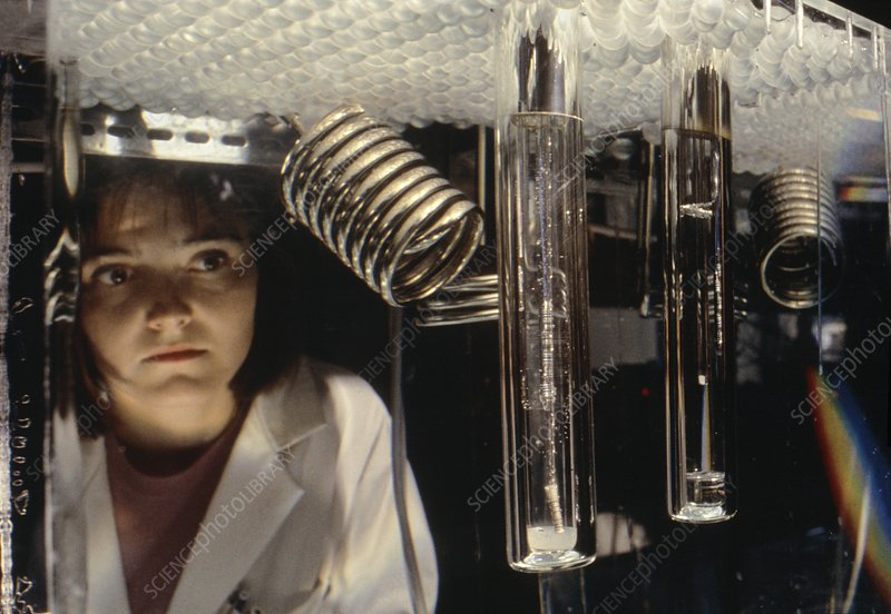 Cold fusion electrolysis cells under test, 1993