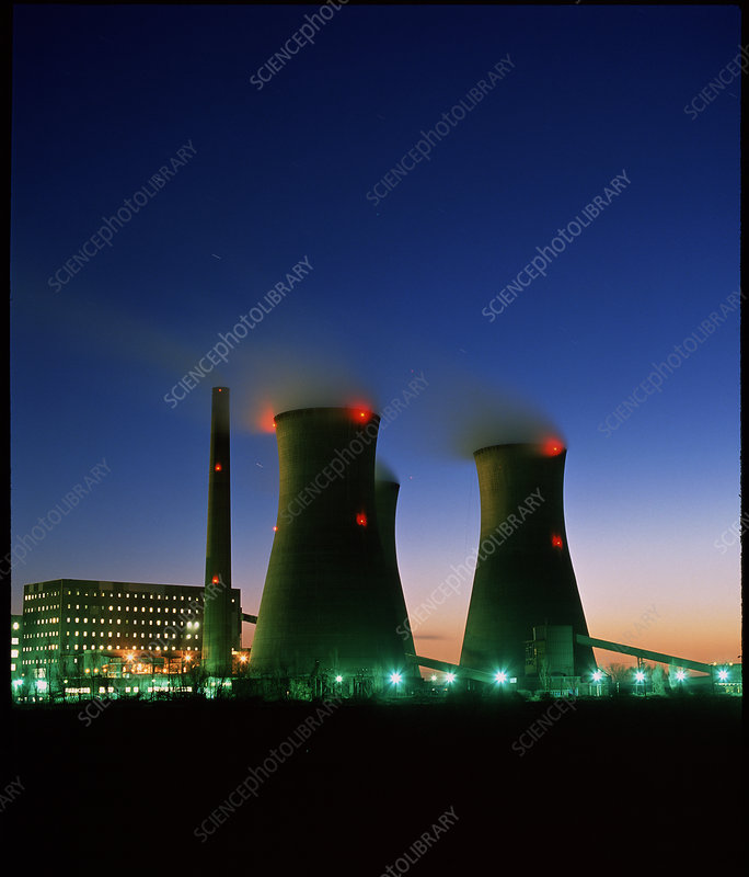 Oil-fired power station at night