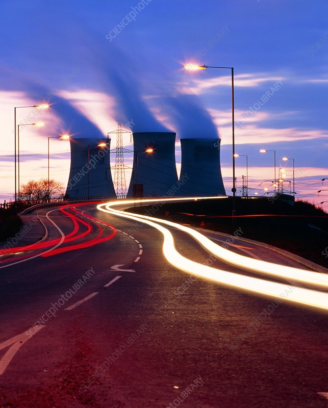 Didcot cooling towers with car light trails