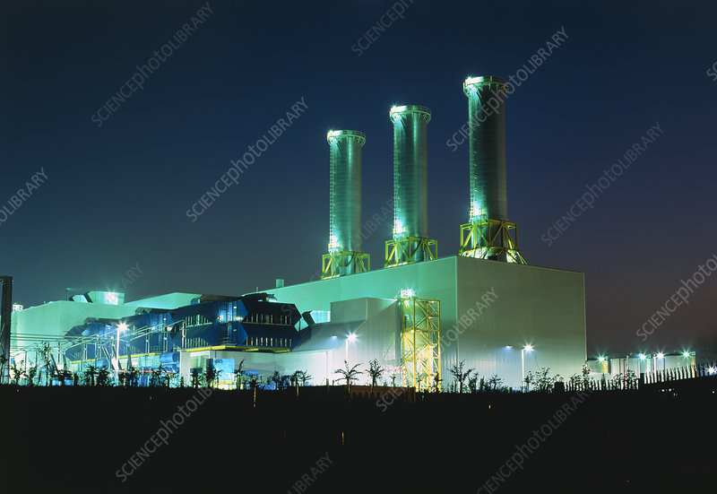 Combined cycle gas turbine power station at night