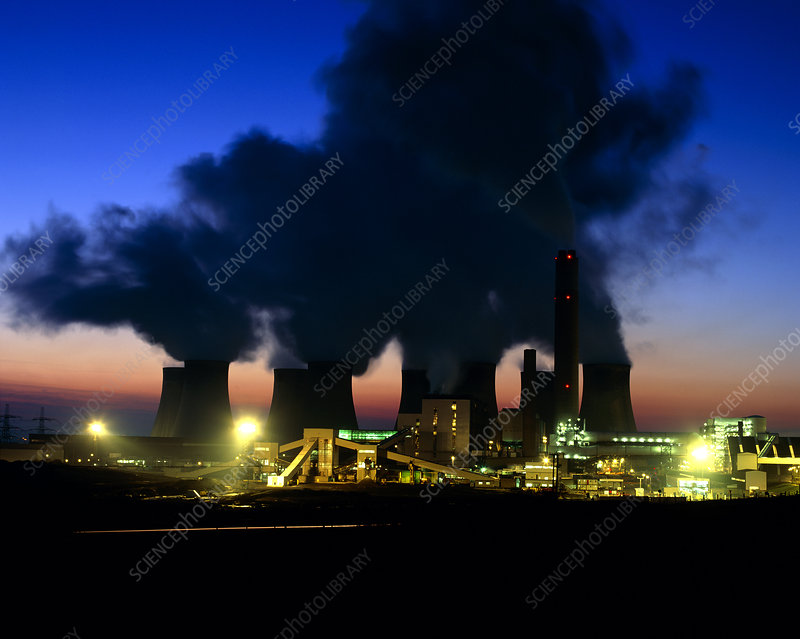 Coal-fired power station at dusk.