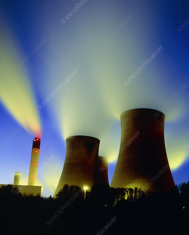 Coal-fired power station at night