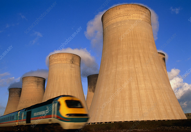 View of cooling towers and high speed train