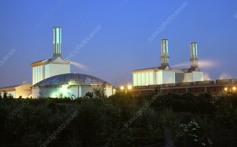 Gas-fired power station at night