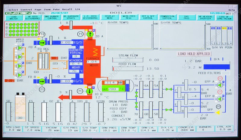 Screenshot of a boiler control system