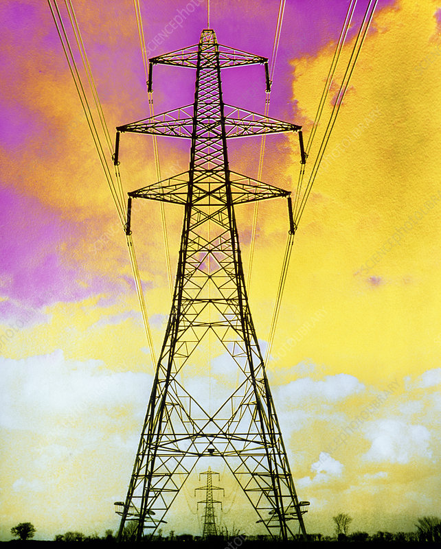 False-colour photo of a pylon