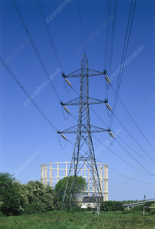 Electricity, pylon and gasometer