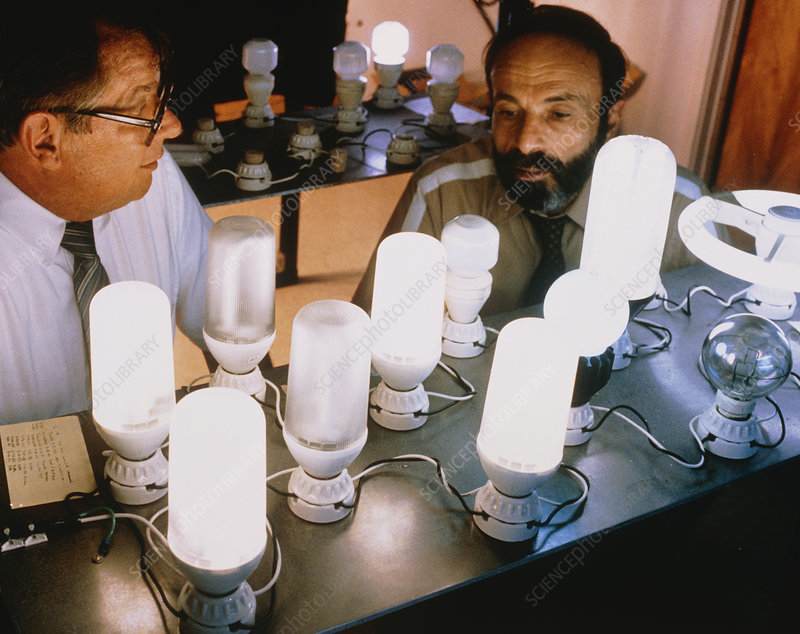 Researchers with energy-saving light bulbs