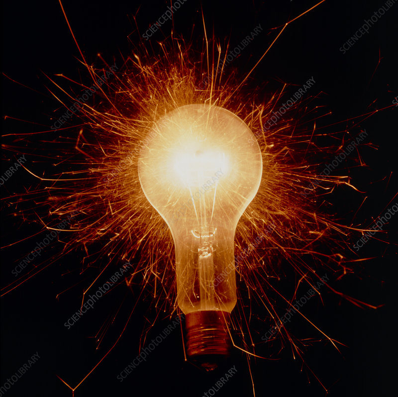 Abstract, sparking electric light bulb