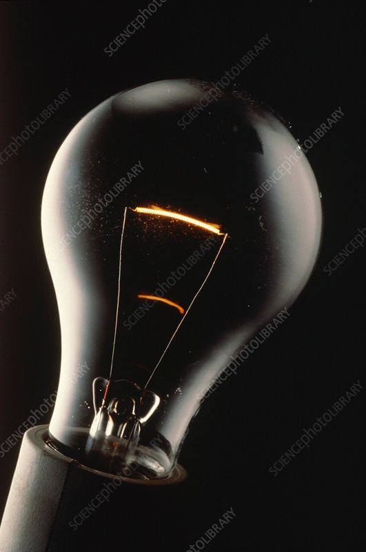 Light bulb showing glowing filament