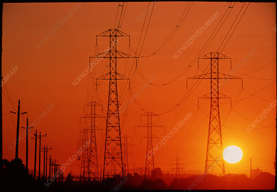 Electricity transmission lines at sunset