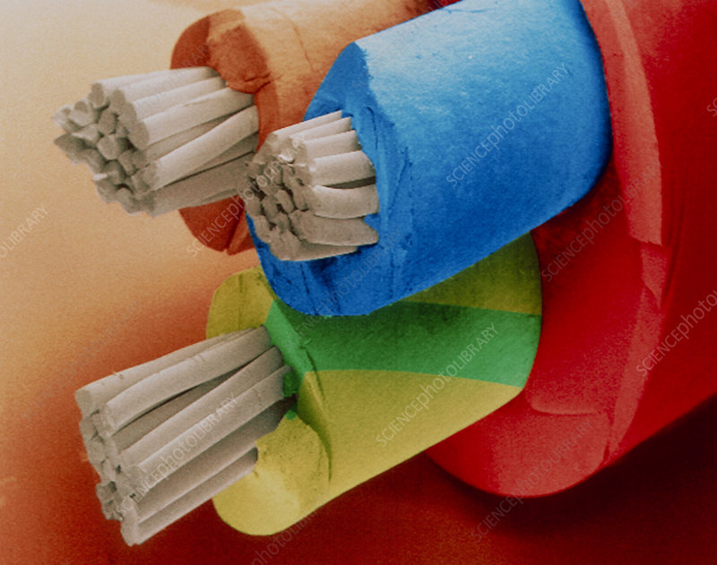 Coloured SEM of 3-core electric cable.