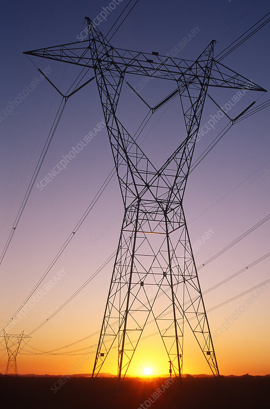 Electricity pylon at sunset