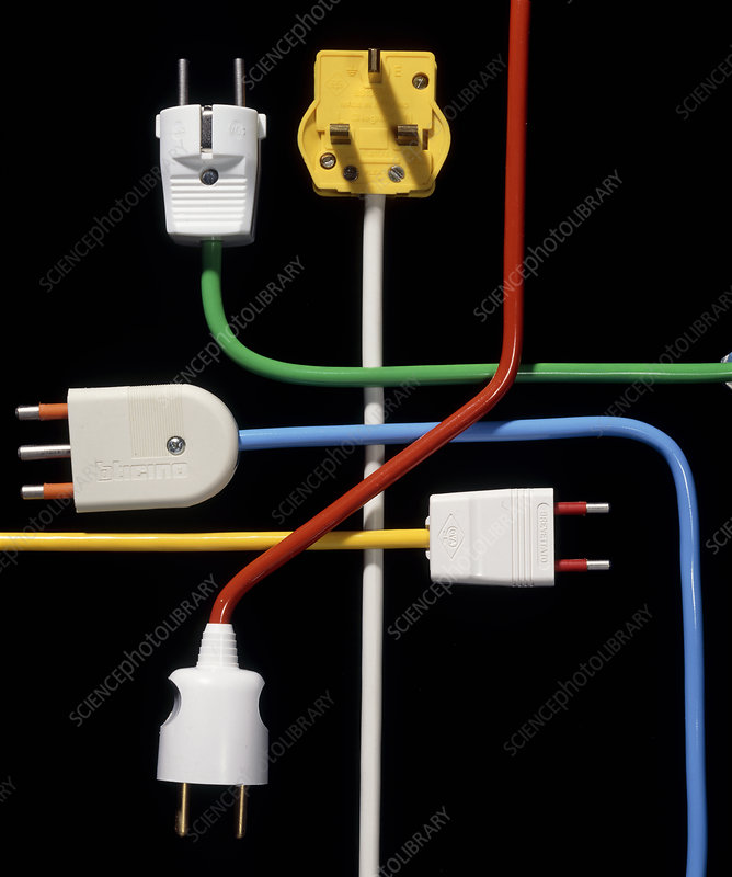 Electrical plugs from various European countries