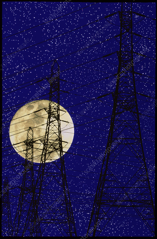 Computer image of a full moon and pylons