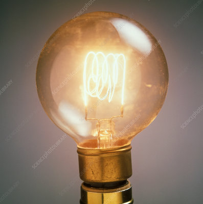 Lit light bulb showing the glowing filament