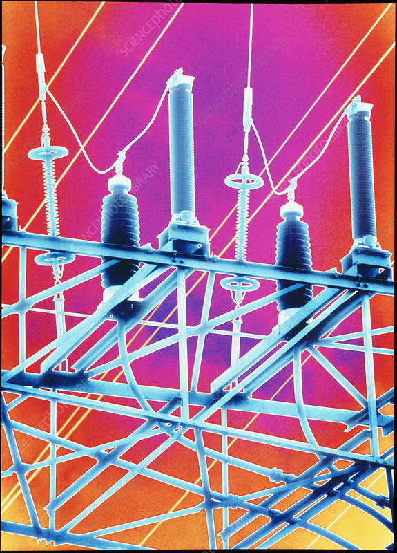 Computer artwork of high-voltage power lines