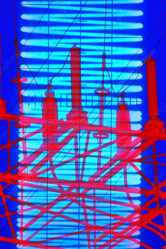 High Voltage Computer : Computer artwork of high voltage power lines stock image