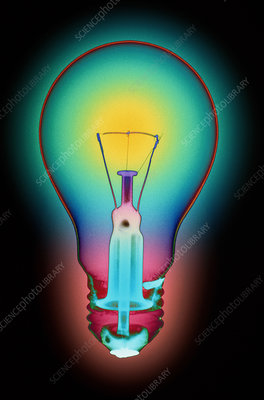 Coloured X-ray of an electric light bulb