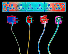 Coloured X-ray of plugs and socket extension board